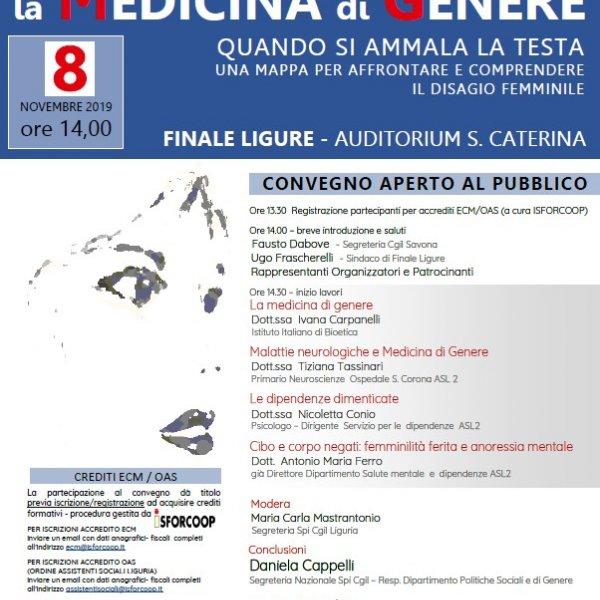 MEDICINA DI GENERE: il ciclo di incontri parte da Finale Ligure l'8 novembre 2019