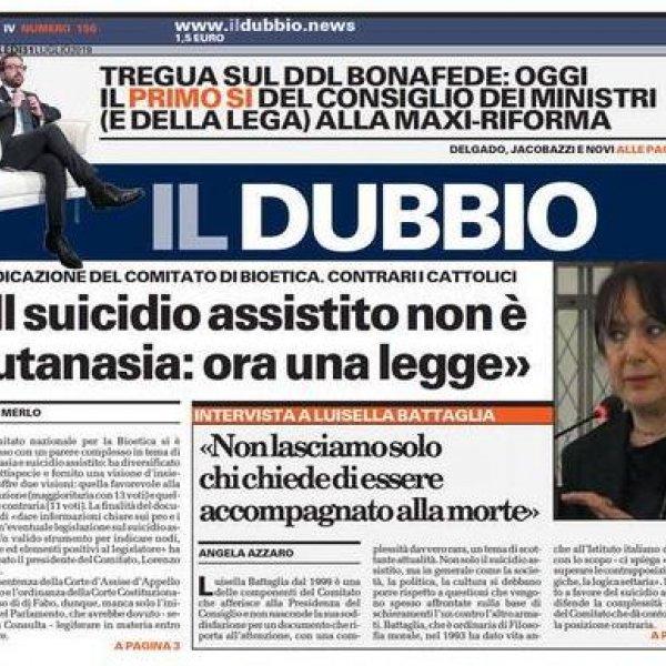 SUICIDIO ASSISTITO / LUISELLA BATTAGLIA: «NON LASCIAMO SOLO CHI CHIEDE DI ESSERE ACCOMPAGNATO ALLA MORTE»